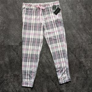 Laura Ashley jogger style pink plaid pyjama pants